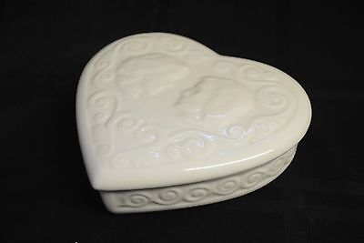 Lenox Heart Shaped Covered Dresser Trinket Dish Silhouette Faces Scroll Design