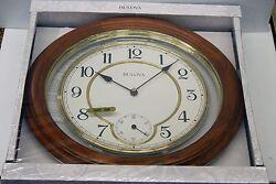 SOLID WOOD 14  WALL CLOCK IN DARK OAK  MADE BY THE BULOVA CLOCKCOMPANY C4596