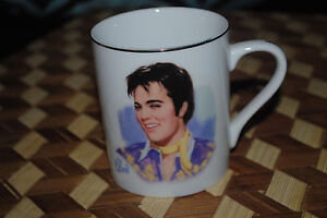 Elvis-Presley-Vintage-1985-Collectible-Coffee-Mug-NEW-MINT-TEDDY-BEAR-Purple