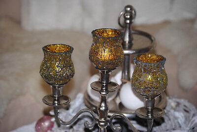Kerzenglas Mosaik Windlicht Glas Glasaufsatz Gelb Teelicht Kerzenständer