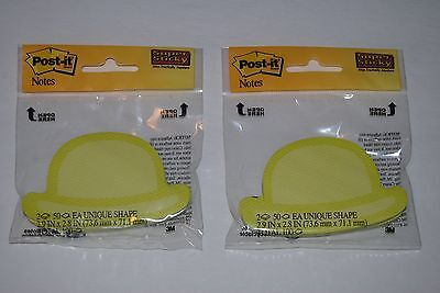 Post-it Super Sticky Notes Yellow Green Shaped Hats 100 Notes 2.9 X 2.8