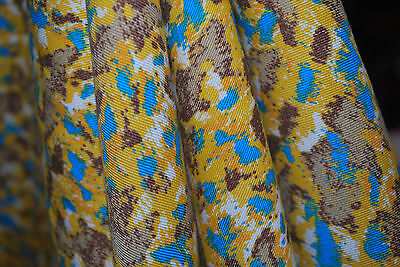 Tencel Gabardine Washed Woven Fabric  Ecofriendly  Printed Mustard blue combo , used for sale  Los Angeles