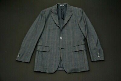 Robert Talbott Carmel Blue Check Wool Jacket Blazer Sport Coat 40R 40 R Plaid