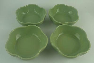 Set of 4 Gerald E Henn Workshops Green Petal Cereal Bowl - Roseville Spongeware
