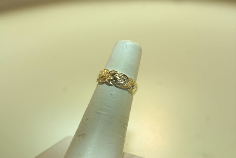 7.5MM 925 SILVER PIERCED OPENWORK HAWAIIAN PLUMERIA HERITAGE SCROLLS DOMED RING