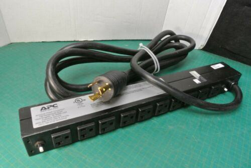 APC AP9560 Basic Rack 1U PDU Outlet Power Strip 120V 24A L5-30P Twist lok plug