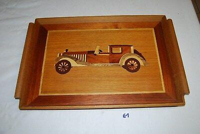 E1 Ancien plateau de table vintage - voiture marqueterie