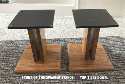 "Oak Speaker Stands for Bookshelf/Smaller Speakers. Great Condition. 11 3/4"" High"
