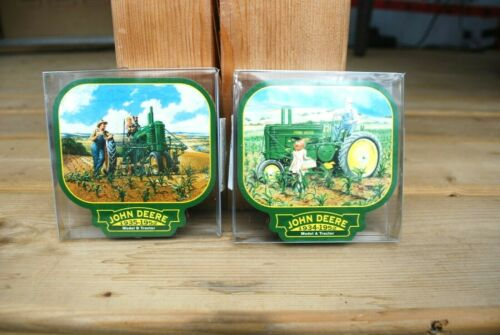 VINTAGE 2000 JOHN DEERE COASTERS, 2 SETS OF FOUR, NEW IN PACKAGES