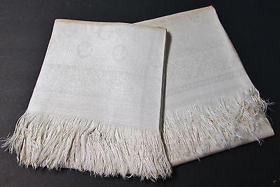 Antique Linen Damask Fringed Bath Towel Pair Daisy Florals Shamrock Millmarks