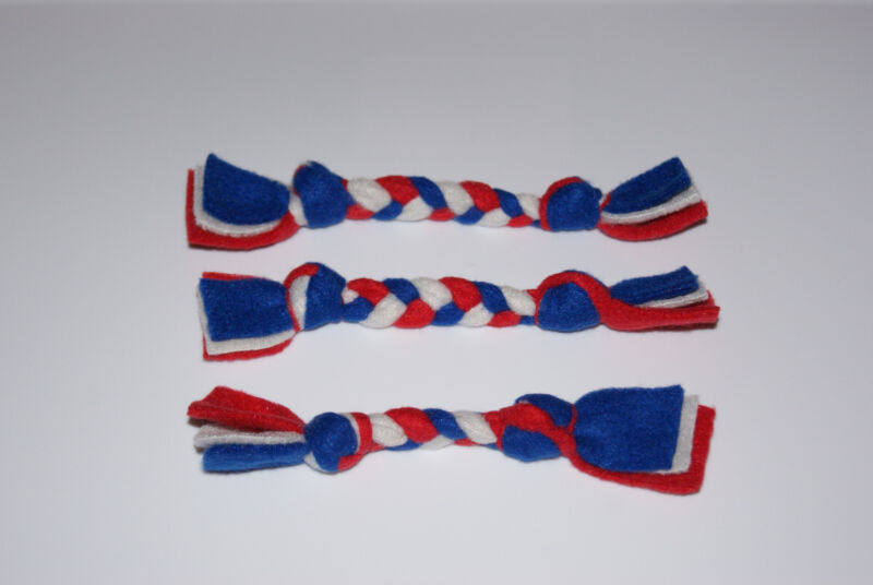 NEW 3 New England Patriots Colors Handmade Braided Fleece Cat Toys FREE S/H! BCR