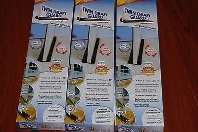Lot Of 3pc Twin Door Draft Dodger Guard  Stopper Energy Saving Doorstop