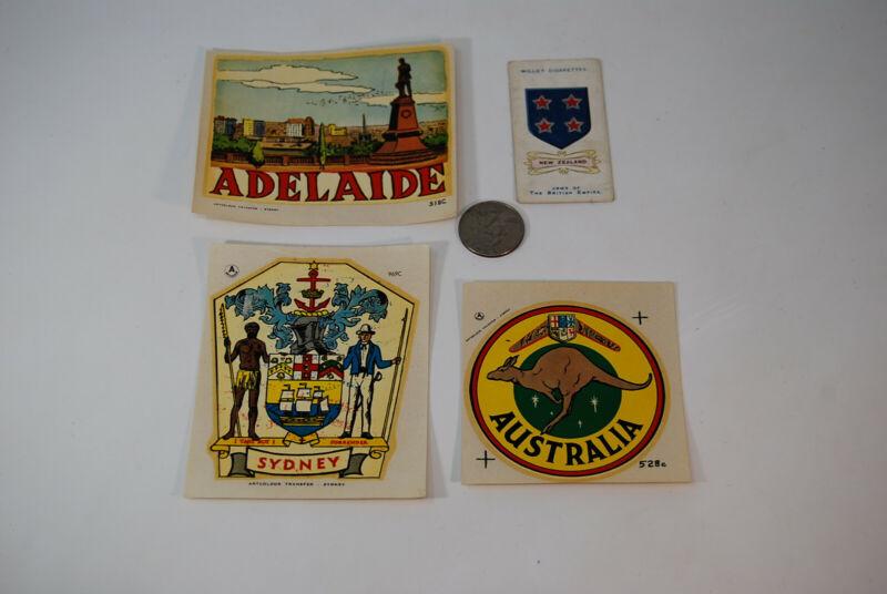 NOS 3 Vintage Travel Sticker Luggage Decal Transfer Australia NZ Adelaide Sydney