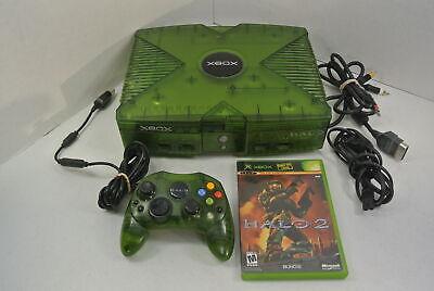 Original Halo Edition Xbox System Console W/ HALO 2 & HALO CONTROLLER Green RARE