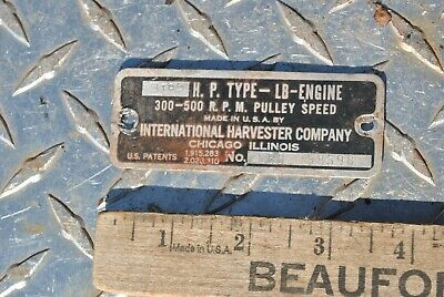 Original Ihc International Lb 3-5 Hp Hit Miss Gas Engine Name Tag