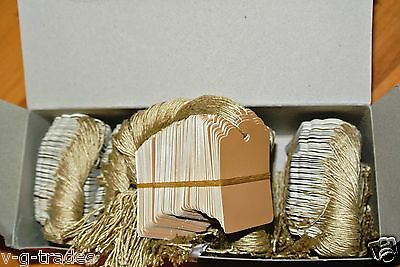 Lot 200 Scalloped Kraft Print 1 X 1 58 Paper Merchandise Price Tags With String