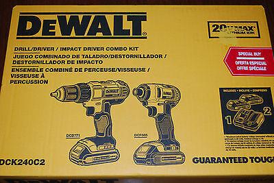 NEW DEWALT DCK240C2  20 Volt Lithium ion Cordless Drill Driver /Impact Combo Kit