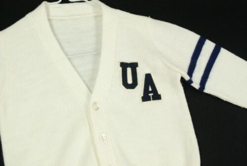 Vintage 60s University Akron Cardigan Sweater Wool White Varsity Youth Boys S