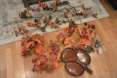 Autumn Fall Stems Picks Garland Lot Wood Wooden Tray Berries Leaves Pumpkins