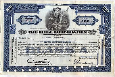 The Brill Corporation Stock Certificate Blue