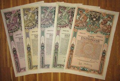 ÖSTERREICH AUSTRIA 5 verschiedene 8. Kriegsanleihe 1918 Austrian War Loan