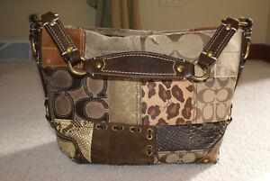 Coach Carly Brown Patchwork Hobo Handbag #11496 FREE SHIP