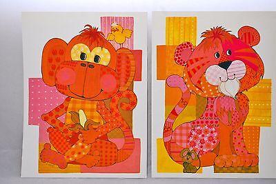 *Set of 2* Vintage 70's Print Set J Hand MONKEY LION Retro Childs Decor 8.5x11