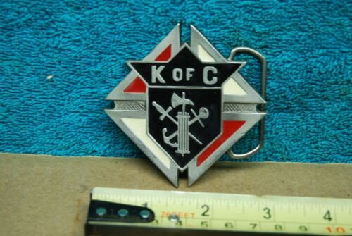 Vintage Knights of Columbus Enamel Metal Belt Buckle ~ Fraternal Organization