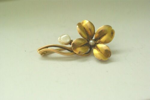 Antique 14K Yellow Gold MISSISSIPPI RIVER PEARL Brooch