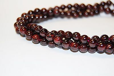 Natural Garnet Gemstone Smooth Round Loose Beads 15.5'' Long, Size 3mm to 12mm