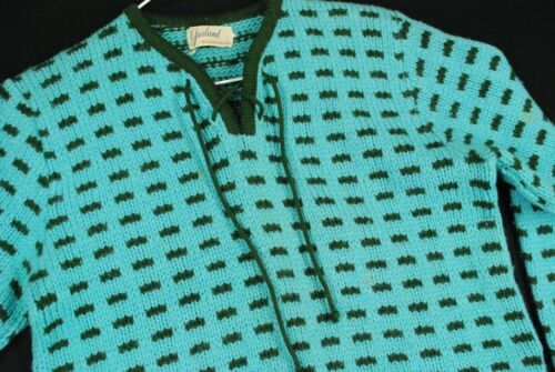 Vintage 60s Pullover Teal Turquoise Blue Wool Knit Sweater Novelty Polka Dot