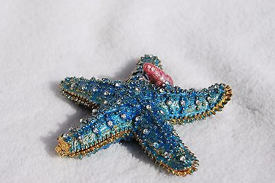 Bejeweled Trinket Box - 0SWAROVSKI CRYSTAL BEJEWELED ENAMEL HINGED TRINKET BOX - BLUE STARFISH