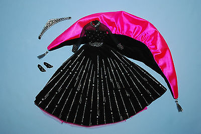 HOT PINK Black Velvet w/ Silver Accents Holiday Formal BARBIE Gown w/ Wrap Heels