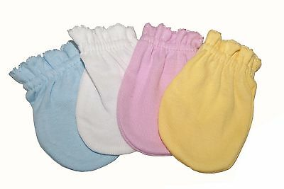 4 Pairs Cotton Newborn Baby/infant No Scratch Mittens Gloves - Mix Color