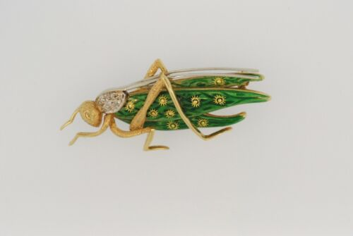 18K YELLOW GOLD AND WHITE GOLD  ENAMEL GRASSHOPPER BROOCH/PIN WITH DIAMONDS