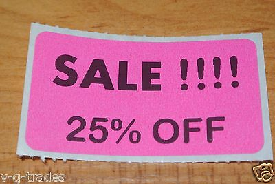 Lot 100 Pink Sale 25 Off Price Labels Stickers Tags Retail Store 2x1 Inch