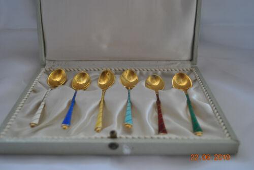 Ela Denmark 6 Spoons gilded silver and enamel