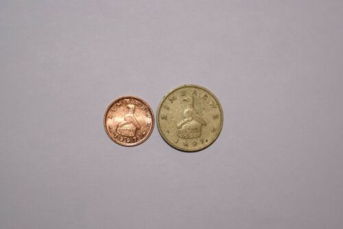 2 DIFFERENT COINS from ZIMBABWE - 1 CENT & 2 DOLLARS (BOTH DATING 1997)