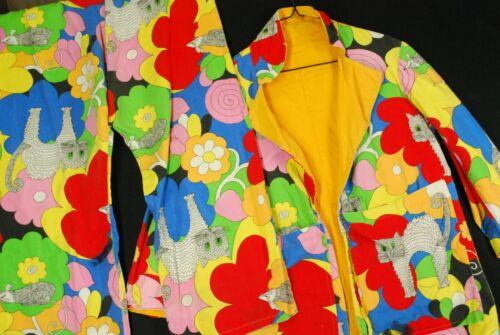 Vintage 70s Floral Hippie Suit Jacket Pants Blazer Rainbow Hippie Mod Gogo