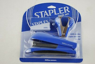 New Stapler School Office Home Supplies 1000 Staples Remover Combo Blue