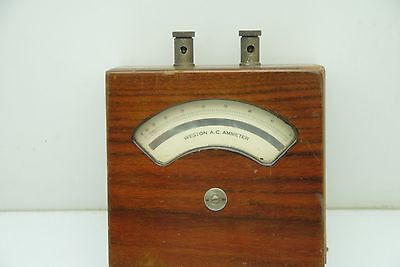 Weston A.c. Ammeter In Wooden Case Model 155 10 To 50 Amp