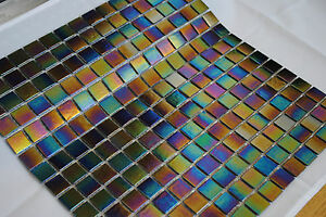 Iridescent Mosaic Tiles black (10 sheets per pack = 1.069 sq mtrs approx)