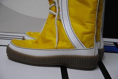 NOS 70er Schneestiefel Boots Stiefel Thermostiefel TRUE VINTAGE gelb weiß apres