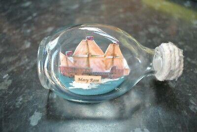 Vintage MARY ROSE Small Ship in a bottle
