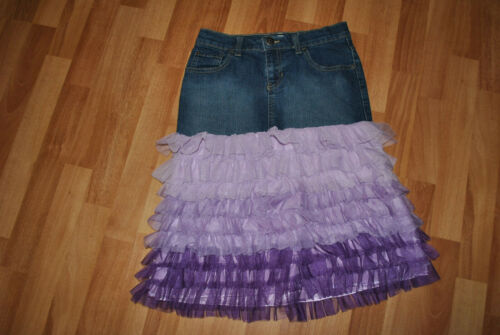 Upcycled Girls Denim Skirt with Purple Tiered tulle added to lengthen. Size 10