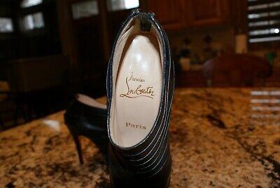 Christian Louboutin Black Leather Woman Shoes Size US 5 Paris in Perfect Shape