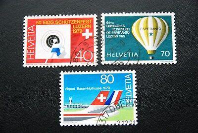Schweiz, 1979, Schützenfest / Luftfahrt (2 Marken gestempelt)