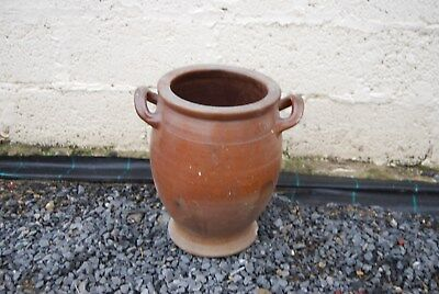 E1 Ancien pot en grès brun, sel - H +- 36 cm