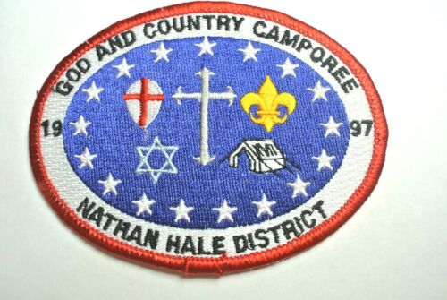 1997 Nathan Hale District God & Country Camporee Pocket Patch - Boy Scouts  MINT