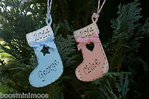 Personalised-Babys-1st-first-Christmas-2014-Stocking-tree-decoration-hand-made